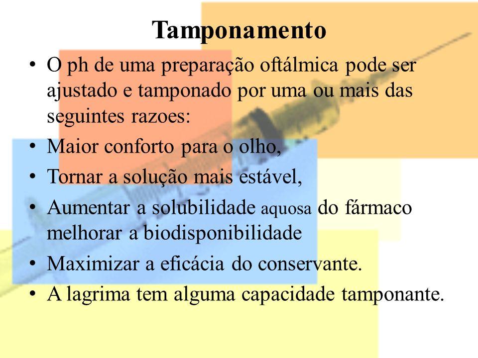 Tamponamento O ph de uma preparação oftálmica pode ser ajustado e tamponado por uma ou mais das seguintes razoes: