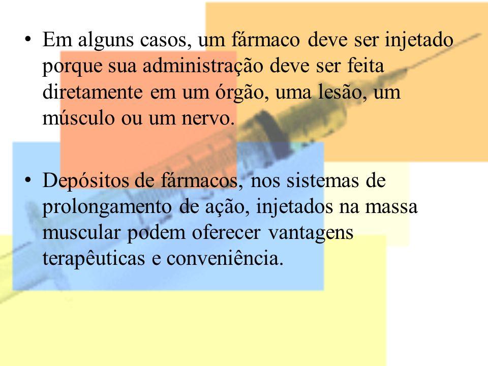 Em alguns casos, um fármaco deve ser injetado porque sua administração deve ser feita diretamente em um órgão, uma lesão, um músculo ou um nervo.