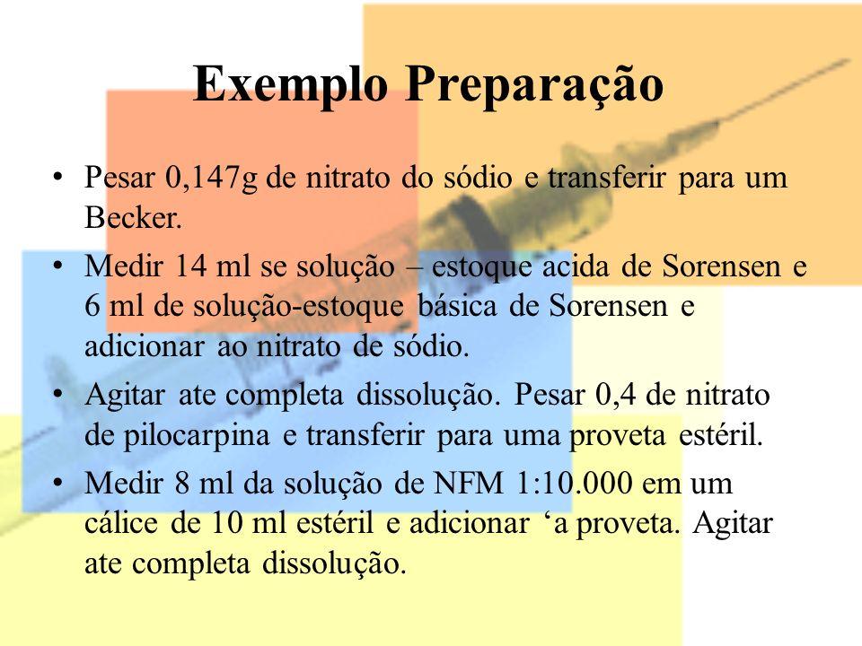 Exemplo Preparação Pesar 0,147g de nitrato do sódio e transferir para um Becker.