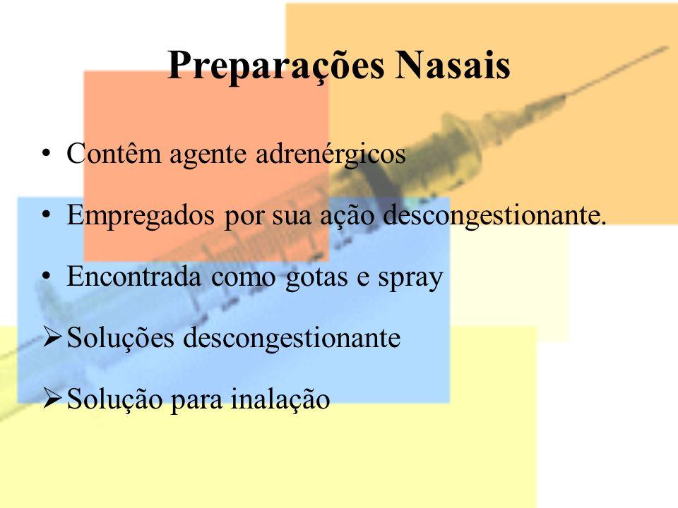 Preparações Nasais Contêm agente adrenérgicos