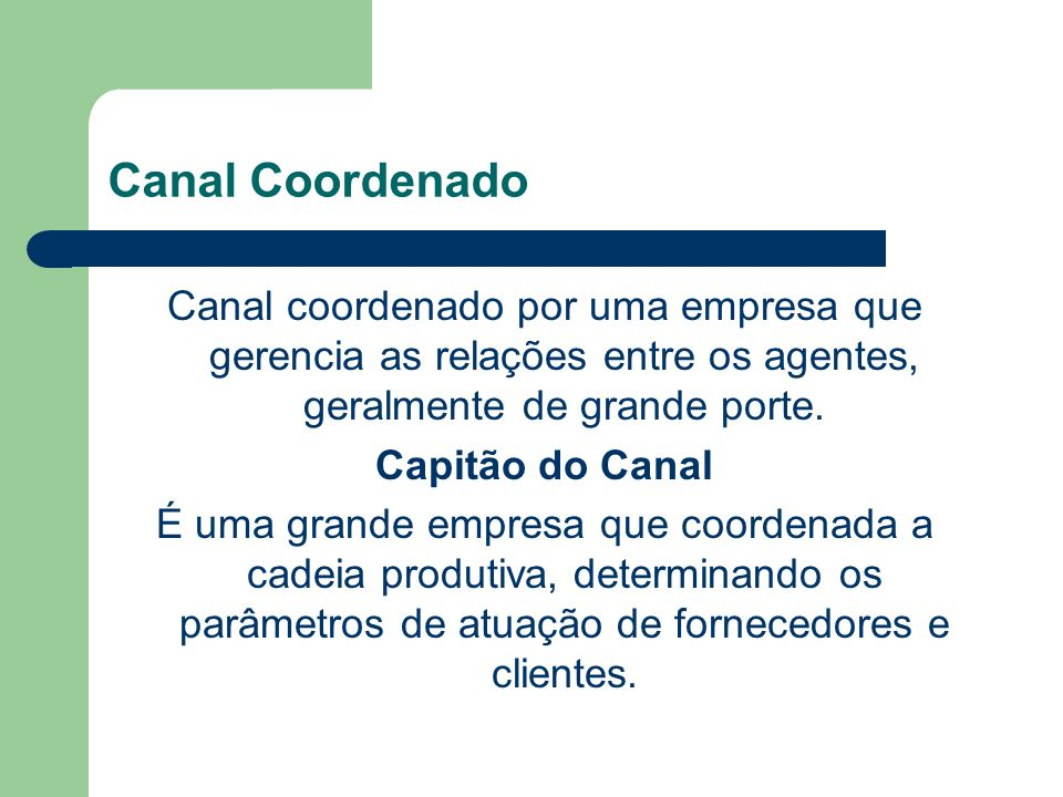 Canal Coordenado Canal coordenado por uma empresa que gerencia as relações entre os agentes, geralmente de grande porte.