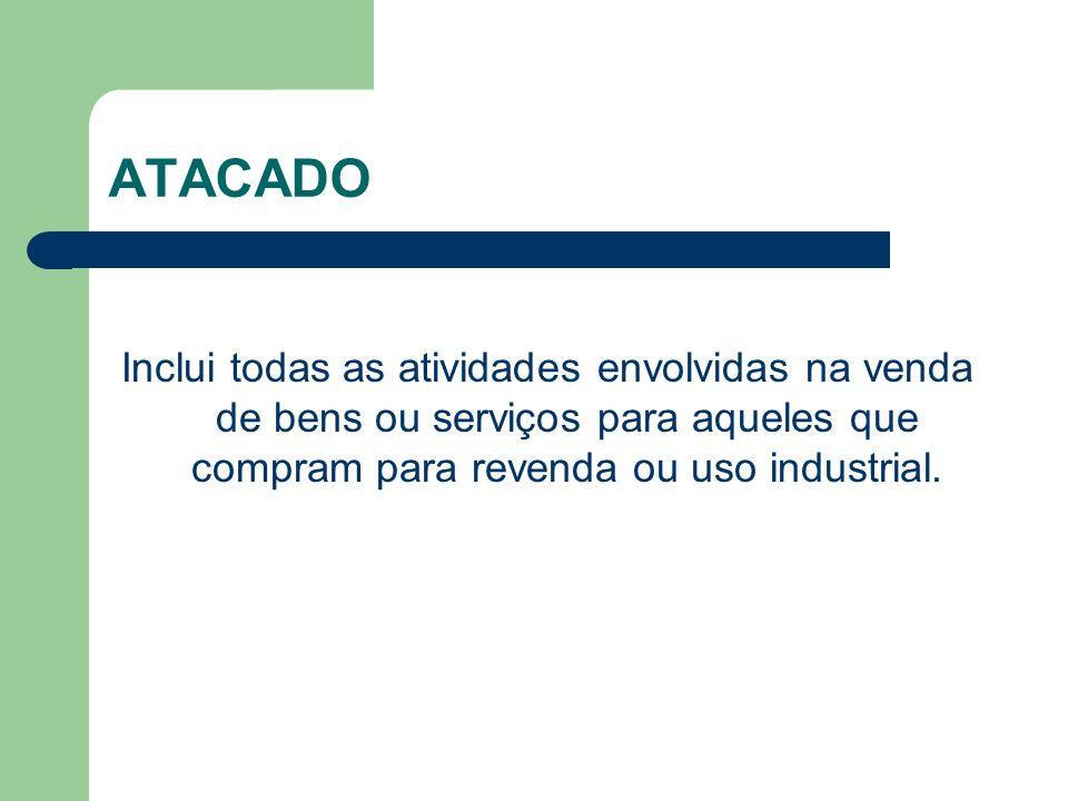 ATACADO Inclui todas as atividades envolvidas na venda de bens ou serviços para aqueles que compram para revenda ou uso industrial.