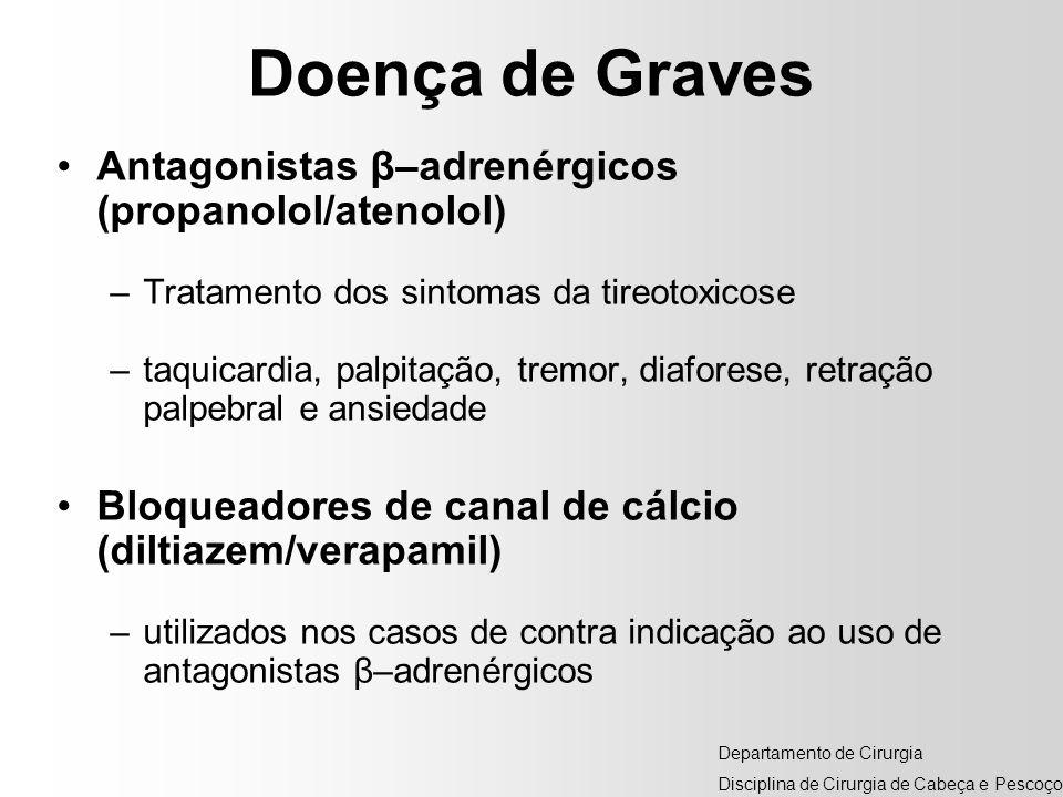 Doença de Graves Antagonistas β–adrenérgicos (propanolol/atenolol)