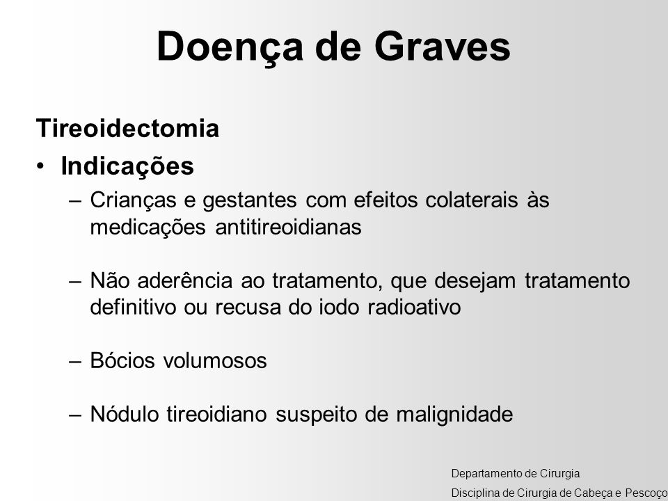 Doença de Graves Tireoidectomia Indicações
