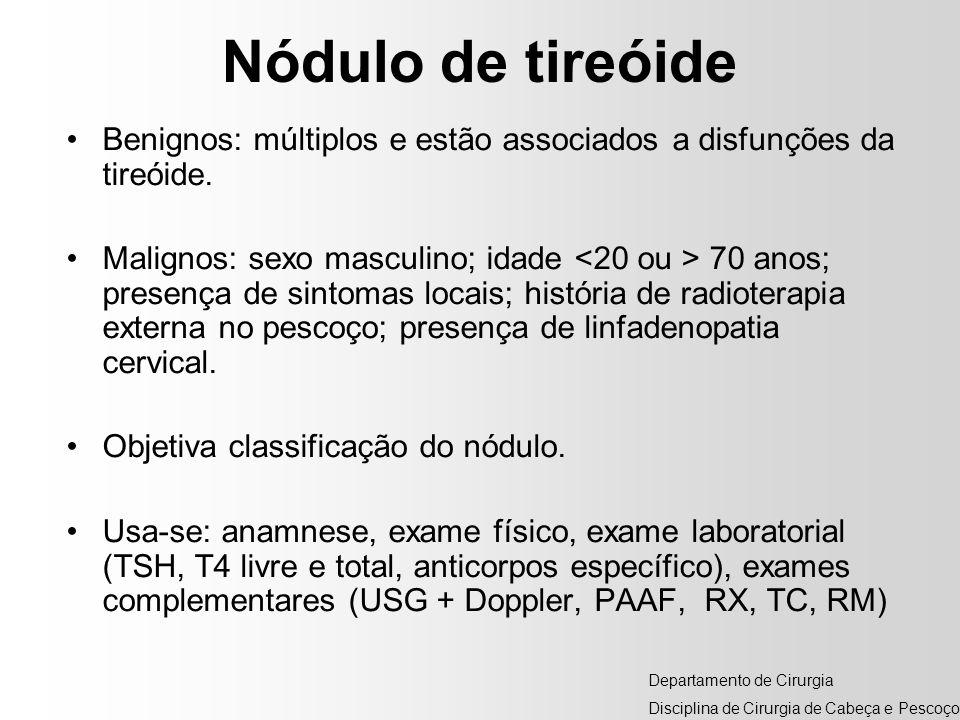 Nódulo de tireóideBenignos: múltiplos e estão associados a disfunções da tireóide.