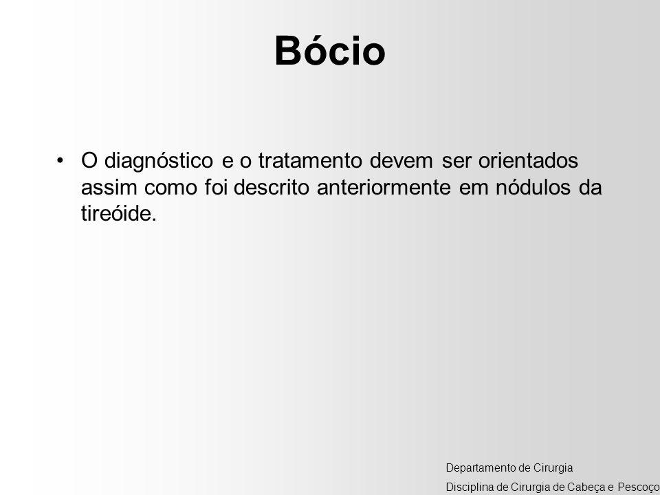 Bócio O diagnóstico e o tratamento devem ser orientados assim como foi descrito anteriormente em nódulos da tireóide.