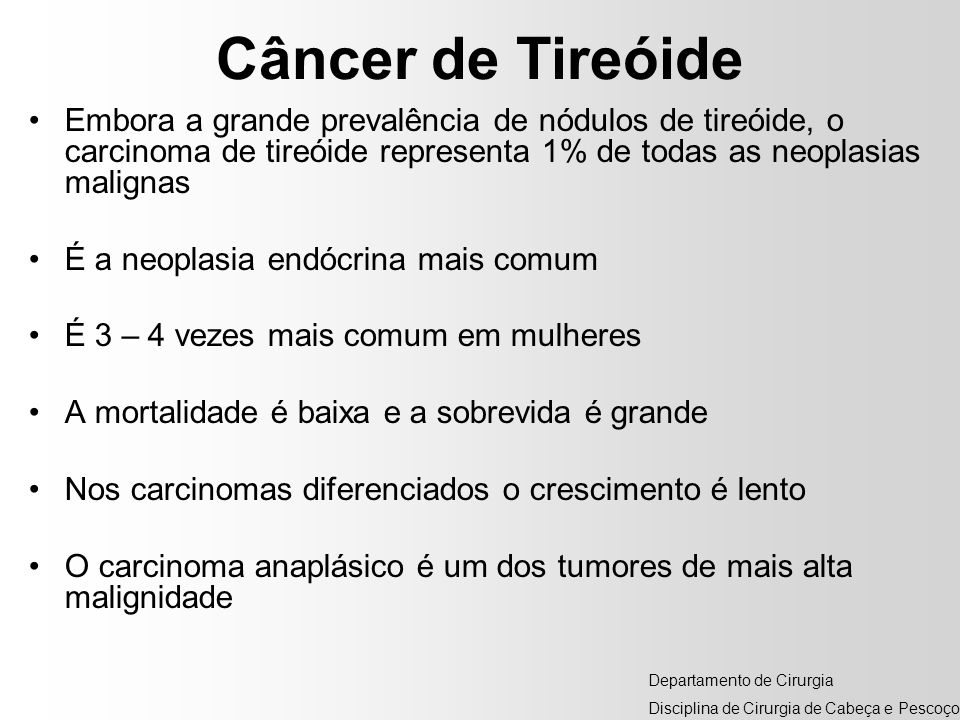 Câncer de TireóideEmbora a grande prevalência de nódulos de tireóide, o carcinoma de tireóide representa 1% de todas as neoplasias malignas.