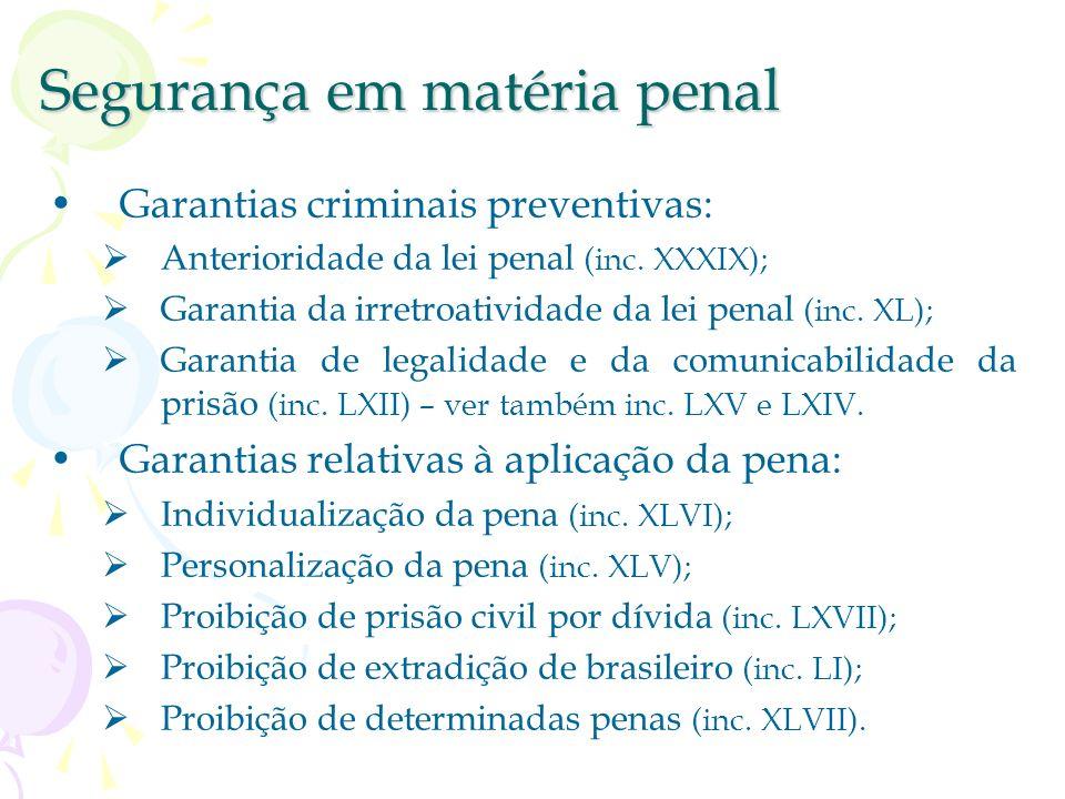Segurança em matéria penal