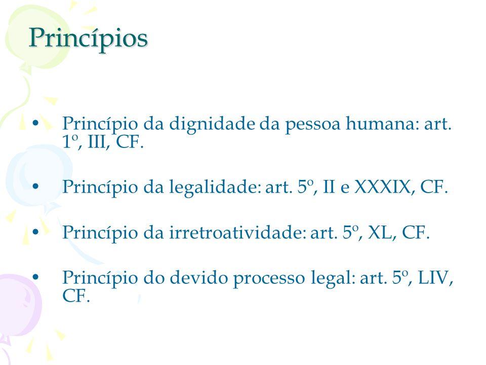 Princípios Princípio da dignidade da pessoa humana: art. 1º, III, CF.