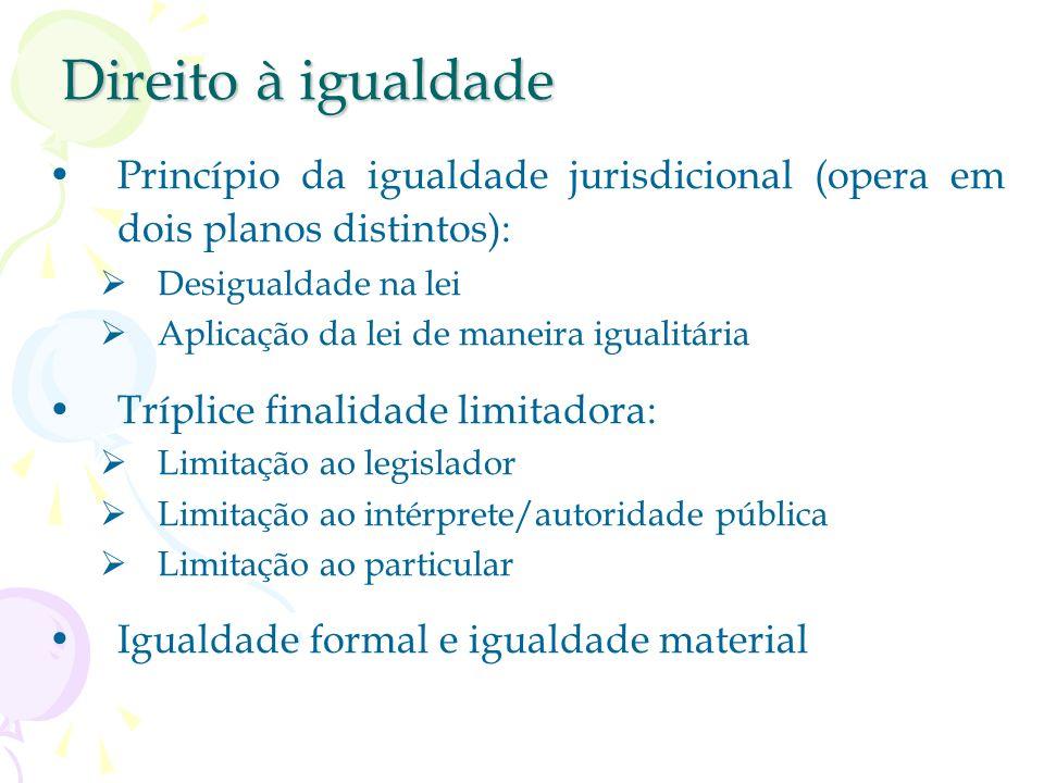Direito à igualdadePrincípio da igualdade jurisdicional (opera em dois planos distintos): Desigualdade na lei.