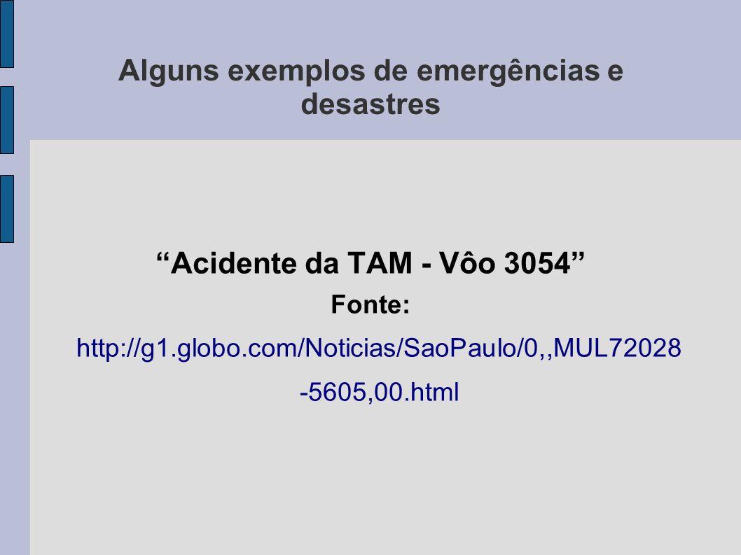 Alguns exemplos de emergências e desastres