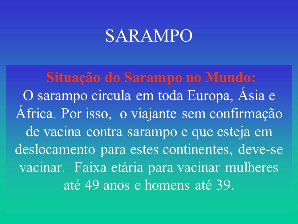 SARAMPO Situação do Sarampo no Mundo: O sarampo circula em toda Europa, Ásia e África.