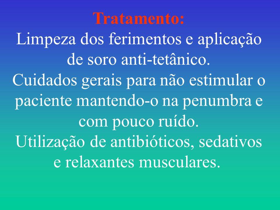 Tratamento: Limpeza dos ferimentos e aplicação de soro anti-tetânico