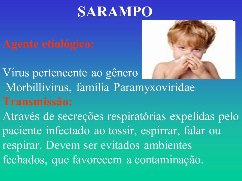 SARAMPO Agente etiológico: Vírus pertencente ao gênero Morbillivirus, família Paramyxoviridae Transmissão: Através de secreções respiratórias expelidas pelo paciente infectado ao tossir, espirrar, falar ou respirar.