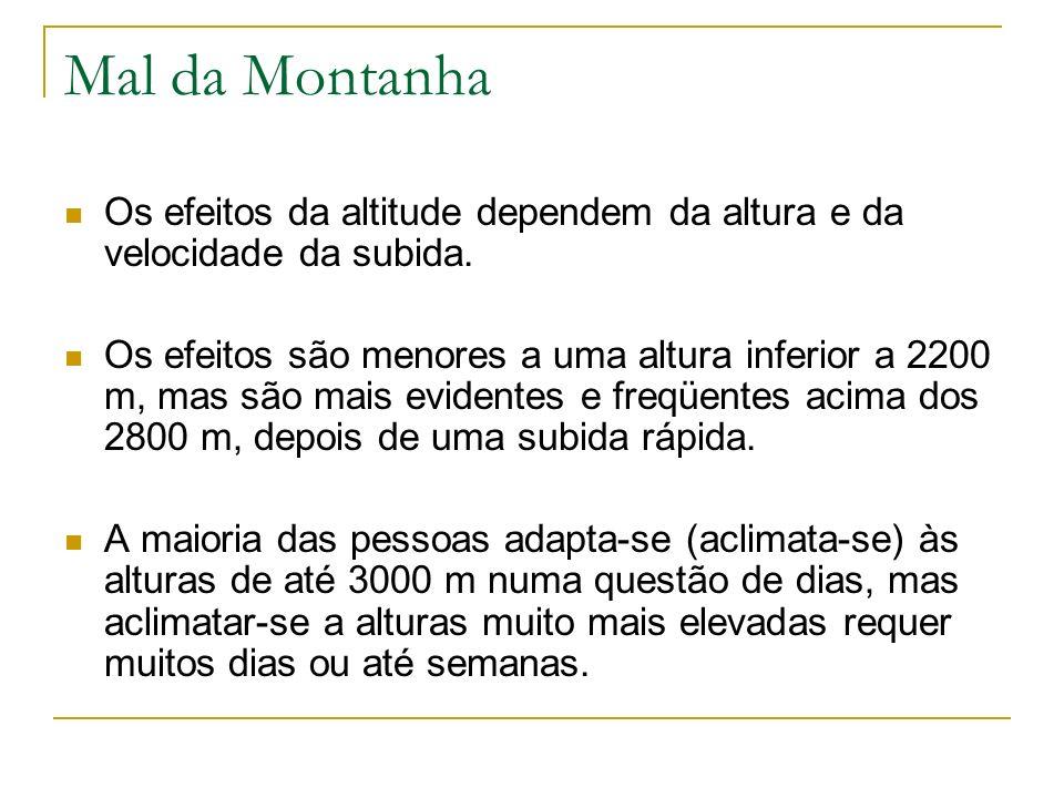 Mal da MontanhaOs efeitos da altitude dependem da altura e da velocidade da subida.