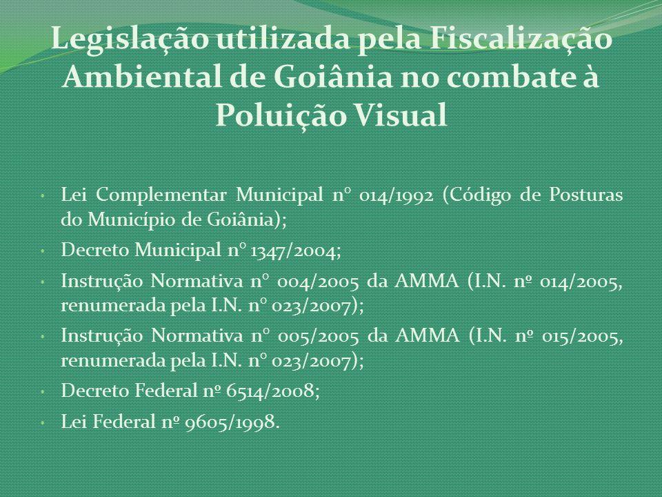 Legislação utilizada pela Fiscalização Ambiental de Goiânia no combate à Poluição Visual