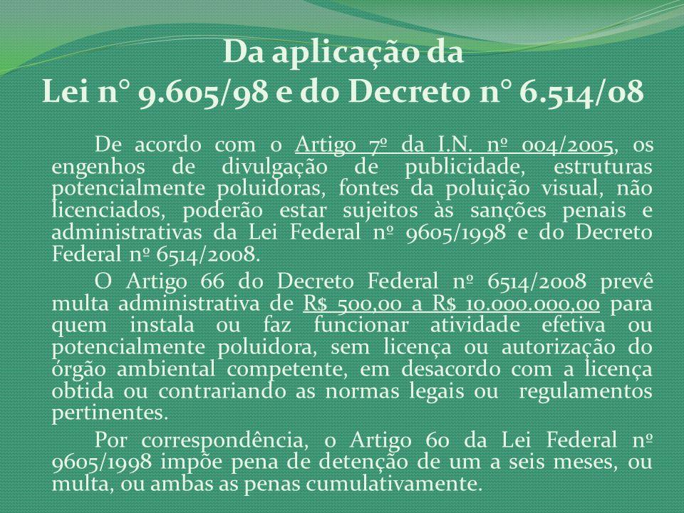 Da aplicação da Lei n° 9.605/98 e do Decreto n° 6.514/08