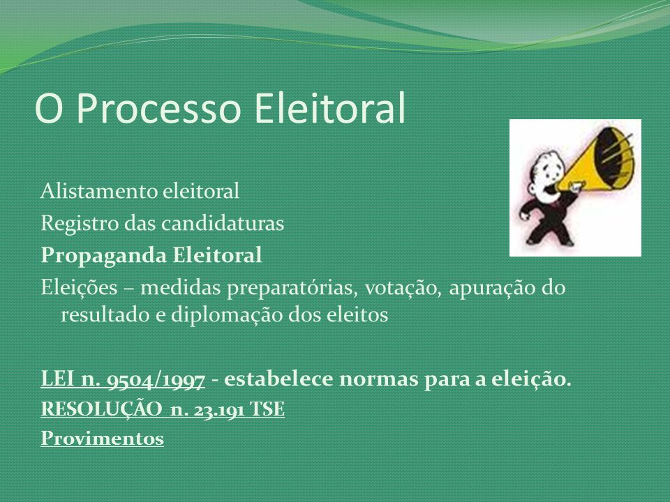 O Processo Eleitoral Alistamento eleitoral Registro das candidaturas