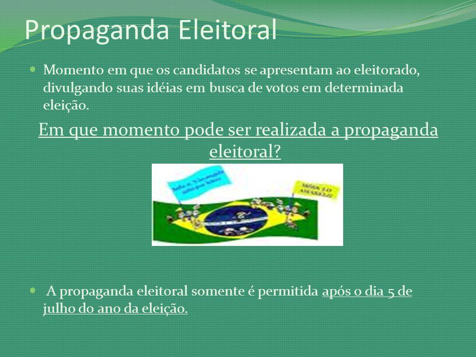 Em que momento pode ser realizada a propaganda eleitoral