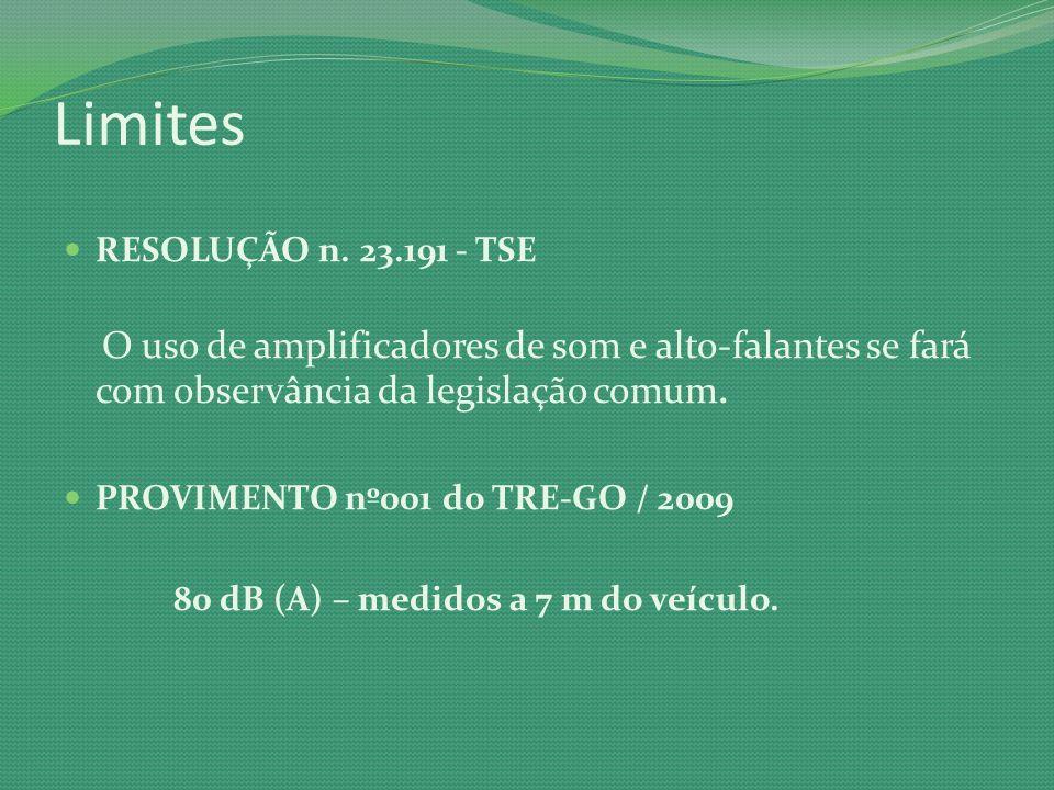 Limites RESOLUÇÃO n. 23.191 - TSE. O uso de amplificadores de som e alto-falantes se fará com observância da legislação comum.