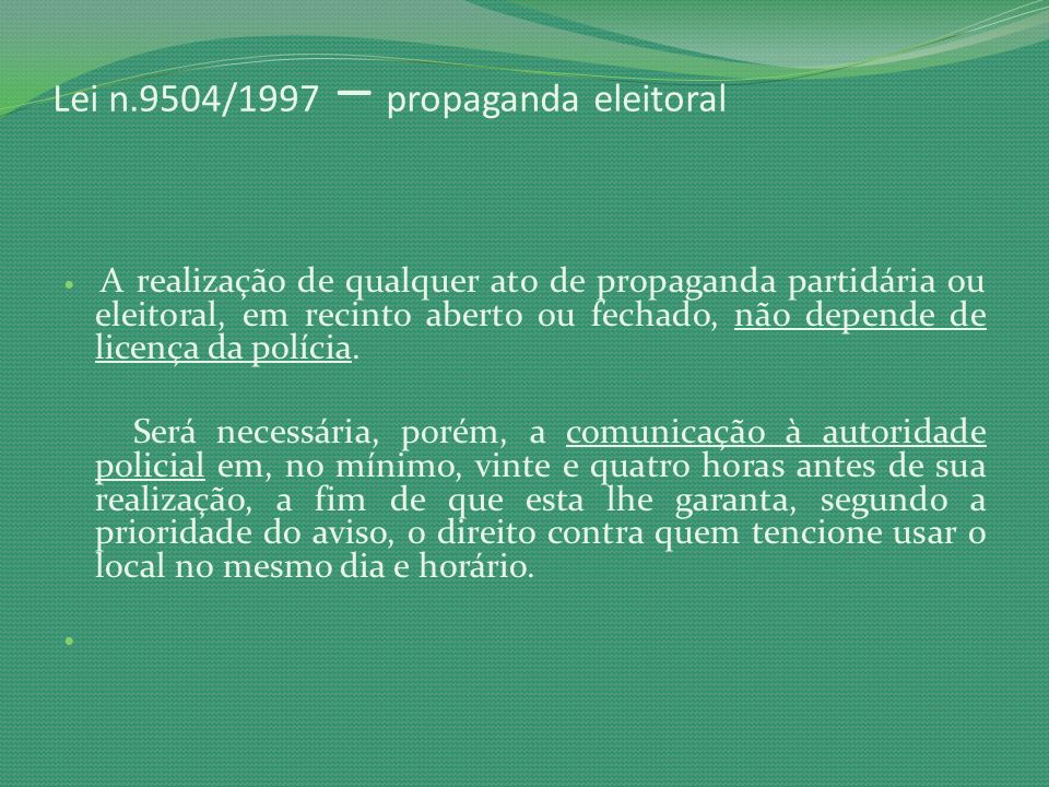 Lei n.9504/1997 – propaganda eleitoral