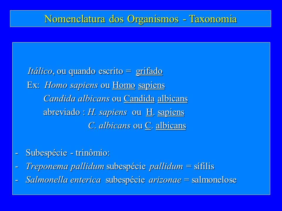 Nomenclatura dos Organismos - Taxonomia