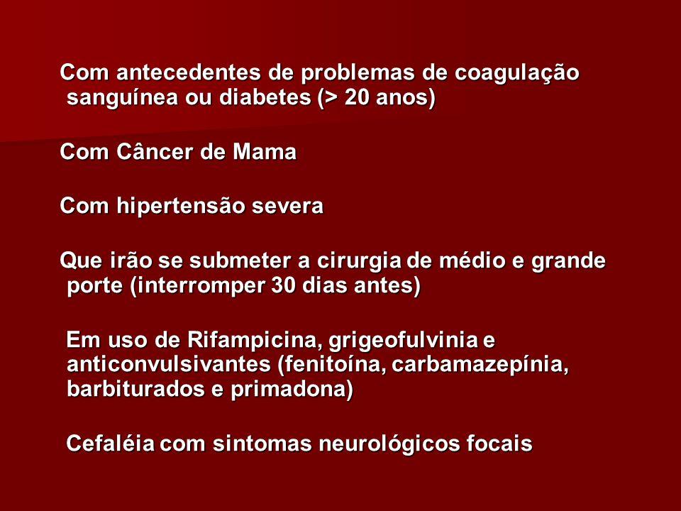 Com antecedentes de problemas de coagulação sanguínea ou diabetes (> 20 anos)