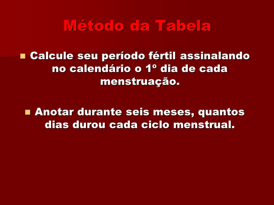 Anotar durante seis meses, quantos dias durou cada ciclo menstrual.