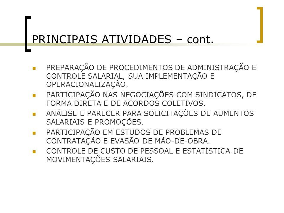 PRINCIPAIS ATIVIDADES – cont.