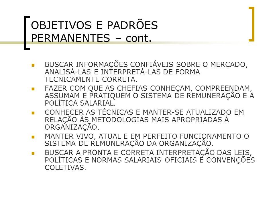 OBJETIVOS E PADRÕES PERMANENTES – cont.