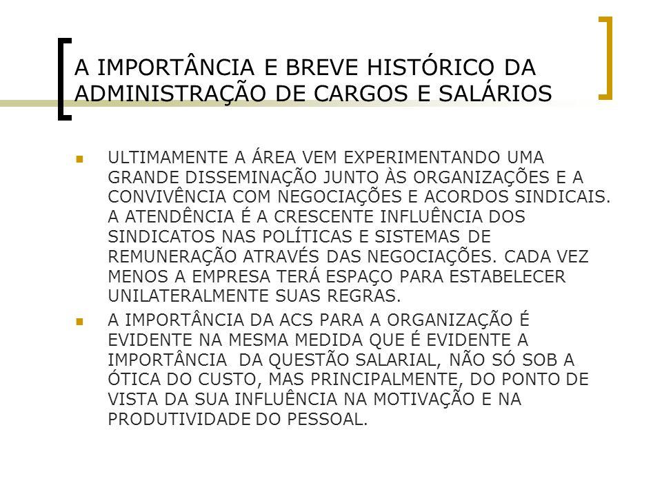 A IMPORTÂNCIA E BREVE HISTÓRICO DA ADMINISTRAÇÃO DE CARGOS E SALÁRIOS