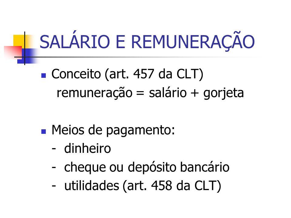 SALÁRIO E REMUNERAÇÃO Conceito (art. 457 da CLT)