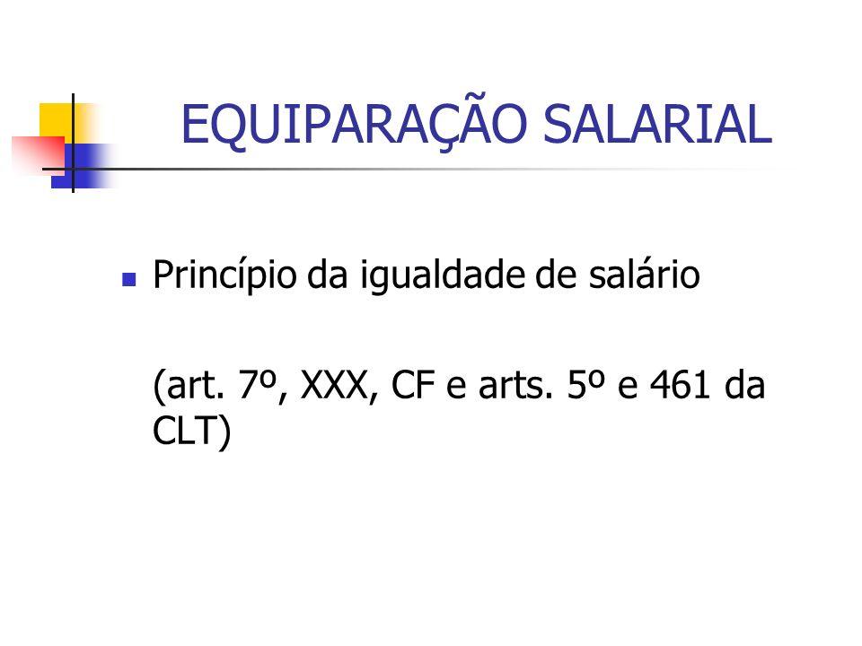 EQUIPARAÇÃO SALARIAL Princípio da igualdade de salário