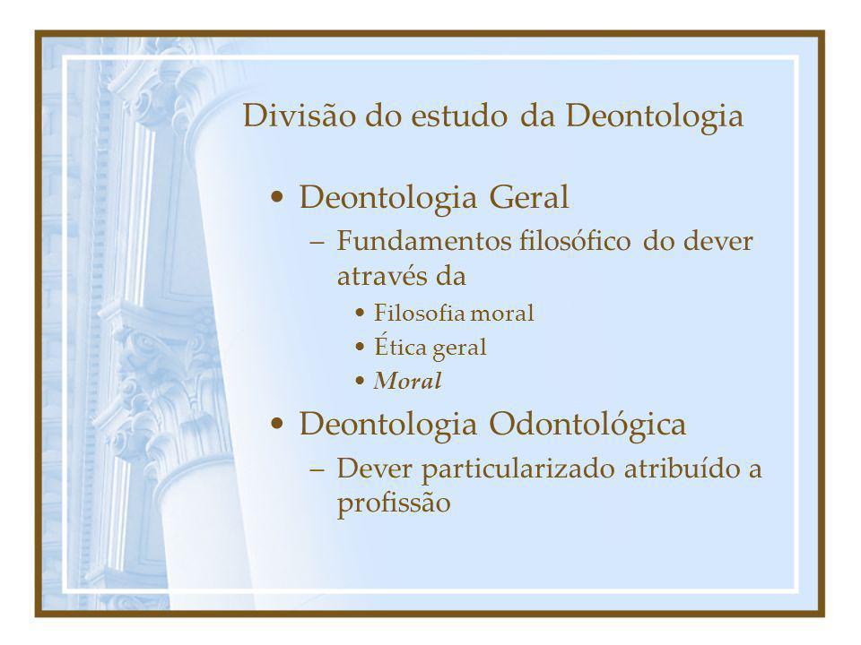 Divisão do estudo da Deontologia
