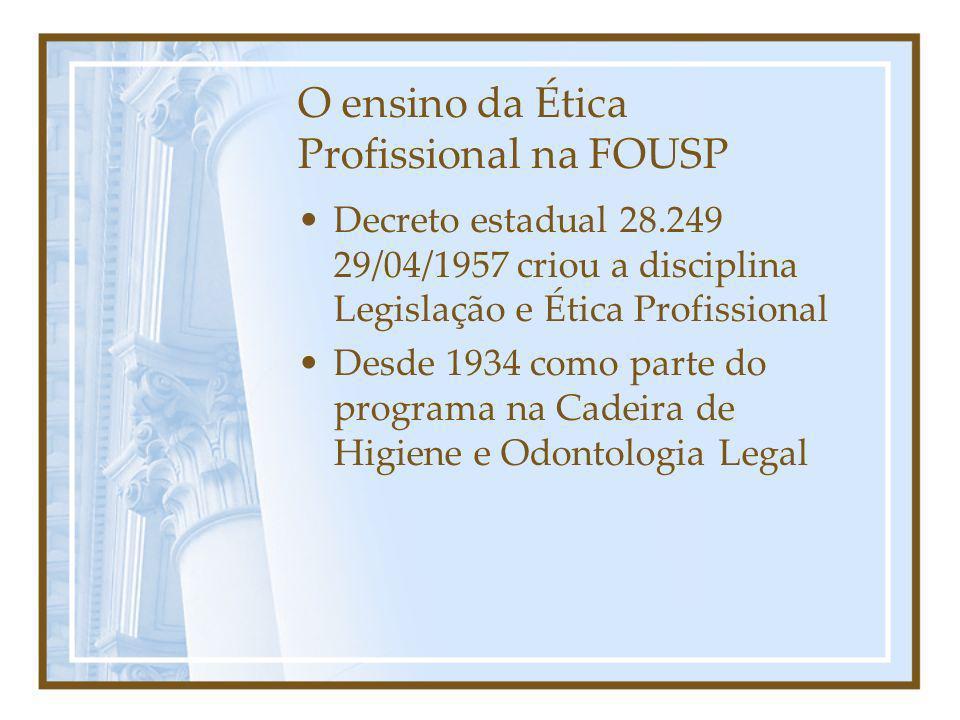 O ensino da Ética Profissional na FOUSP