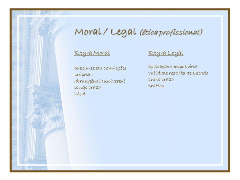 Moral / Legal (ética profissional)