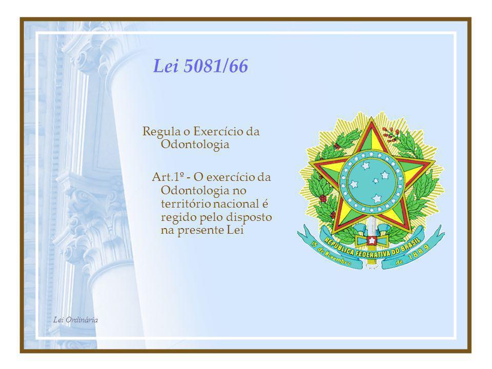 Lei 5081/66 Regula o Exercício da Odontologia