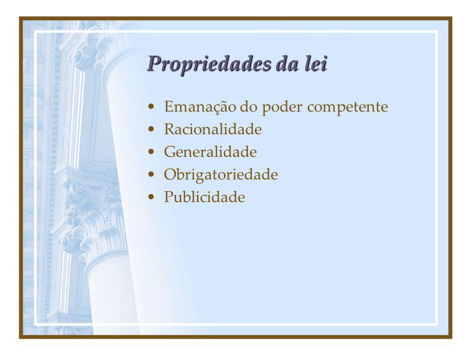 Propriedades da lei Emanação do poder competente Racionalidade