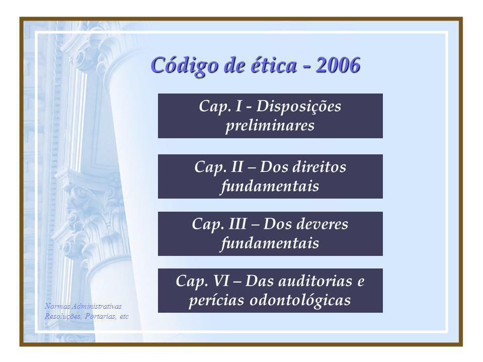 Código de ética - 2006 Cap. I - Disposições preliminares