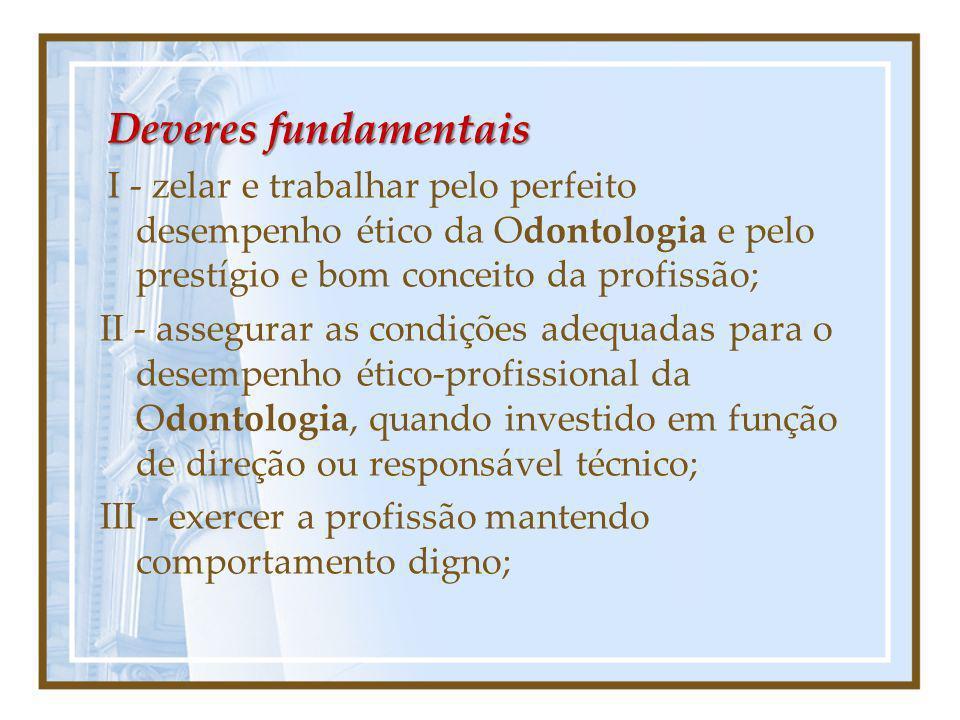 Deveres fundamentais I - zelar e trabalhar pelo perfeito desempenho ético da Odontologia e pelo prestígio e bom conceito da profissão;
