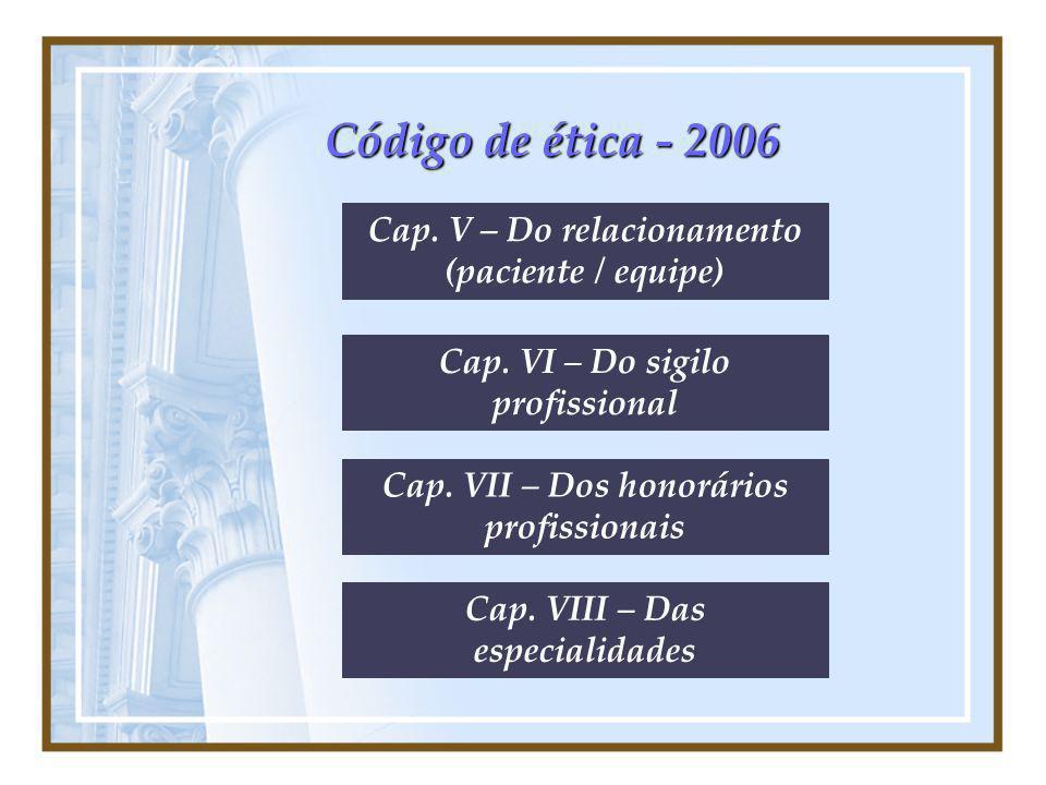Código de ética - 2006 Cap. V – Do relacionamento (paciente / equipe)