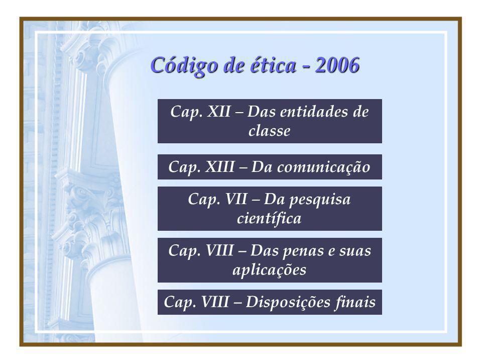 Código de ética - 2006 Cap. XII – Das entidades de classe