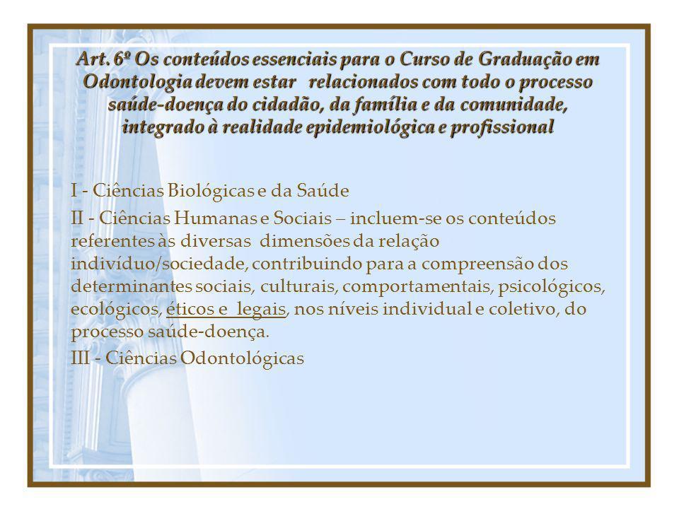 Art. 6º Os conteúdos essenciais para o Curso de Graduação em Odontologia devem estar relacionados com todo o processo saúde-doença do cidadão, da família e da comunidade, integrado à realidade epidemiológica e profissional