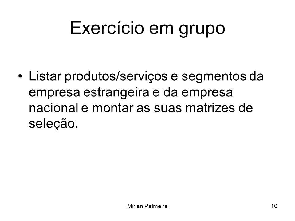 Exercício em grupo Listar produtos/serviços e segmentos da empresa estrangeira e da empresa nacional e montar as suas matrizes de seleção.