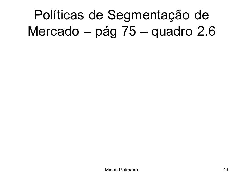 Políticas de Segmentação de Mercado – pág 75 – quadro 2.6
