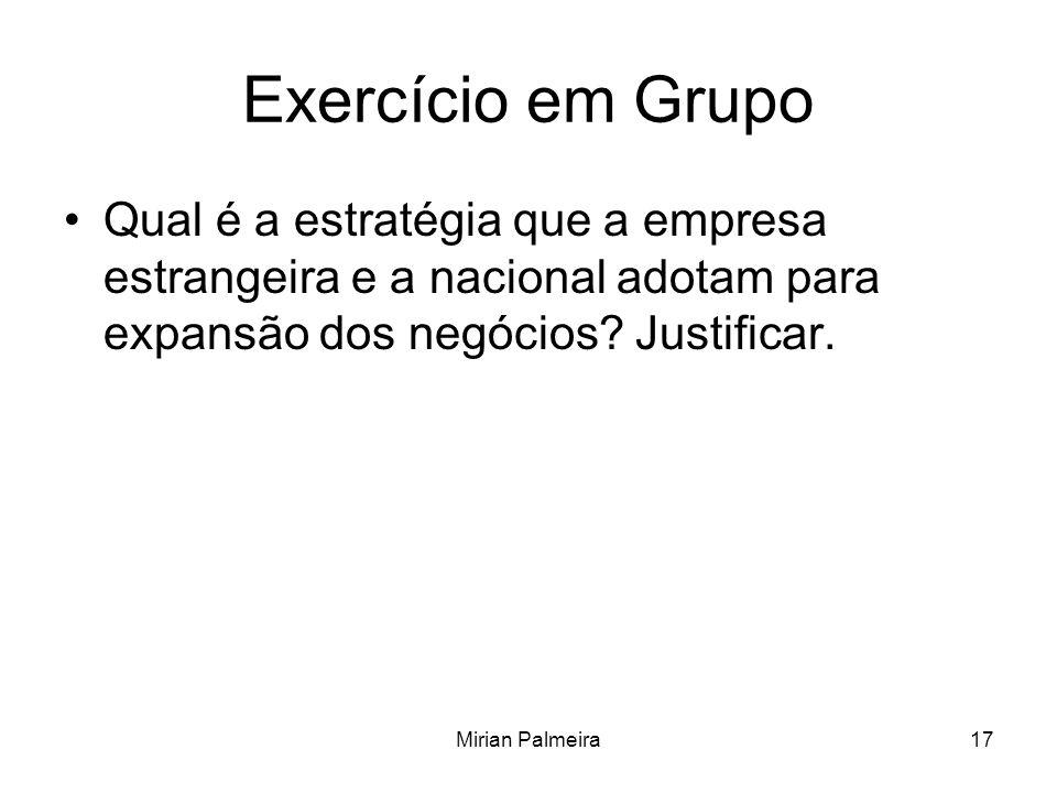 Exercício em Grupo Qual é a estratégia que a empresa estrangeira e a nacional adotam para expansão dos negócios Justificar.