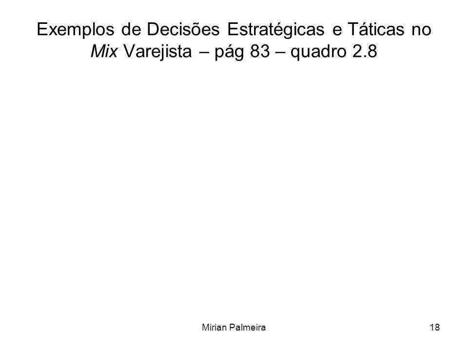 Exemplos de Decisões Estratégicas e Táticas no Mix Varejista – pág 83 – quadro 2.8
