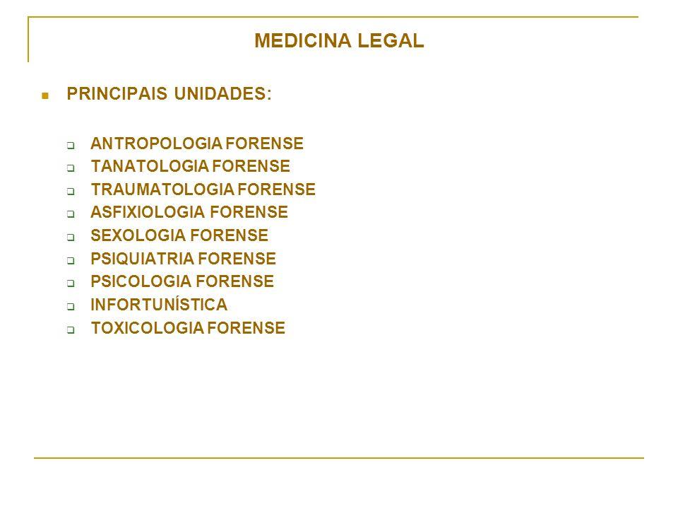 MEDICINA LEGAL PRINCIPAIS UNIDADES: ANTROPOLOGIA FORENSE