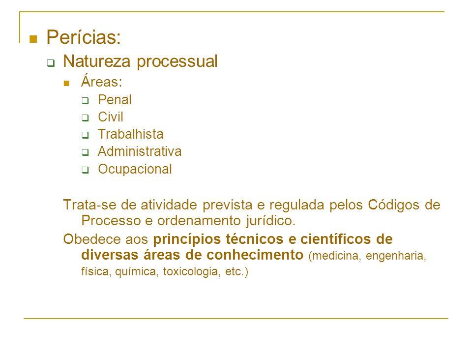 Perícias: Natureza processual Áreas:
