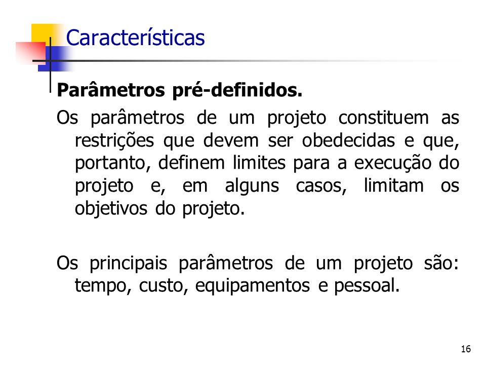 Características Parâmetros pré-definidos.